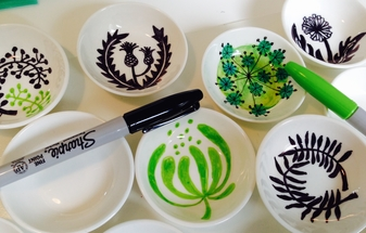 Draw with Sharpies on ceramics